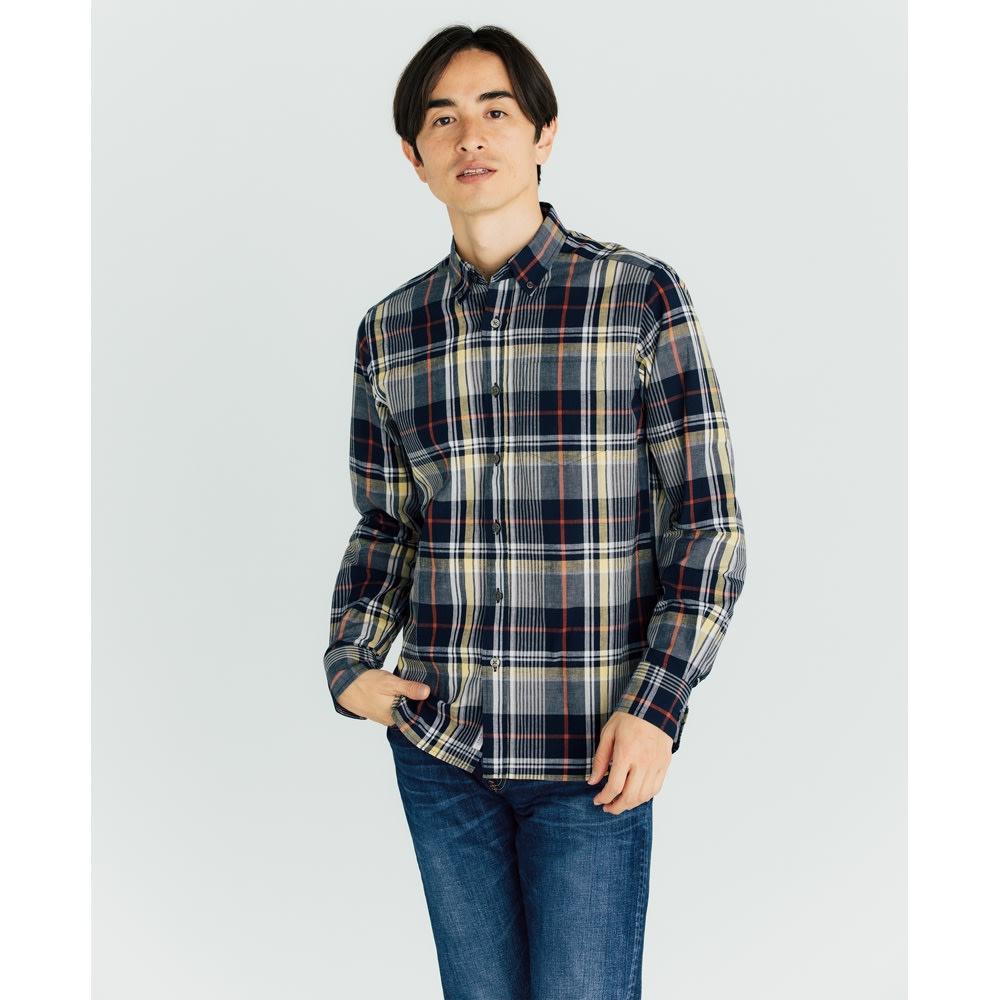 SCENE(R) 7DAYS ジャパンメイドシャツシリーズ リネン混マドラスチェック コーディネート例