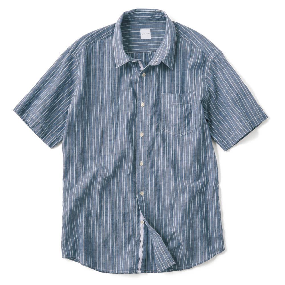 オーガニックコットン ショートスリーブシャツシリーズ ピンストライプネイビー