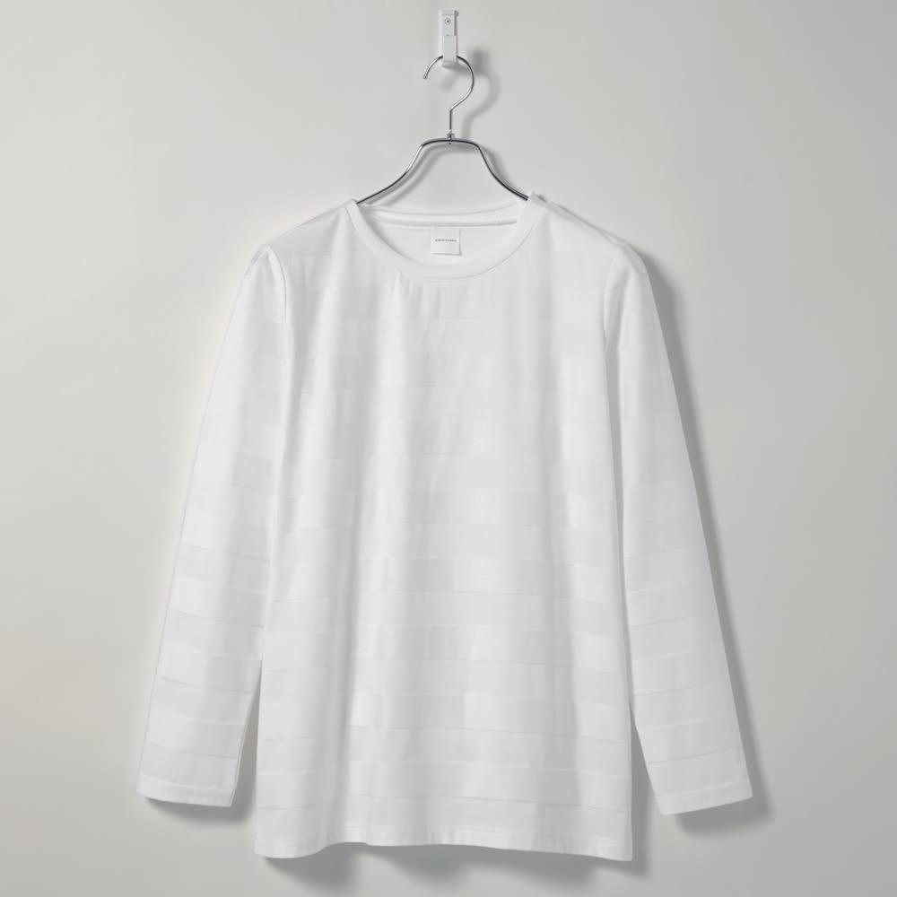 リンクス編み長袖Tシャツ (イ)ボーダーホワイト