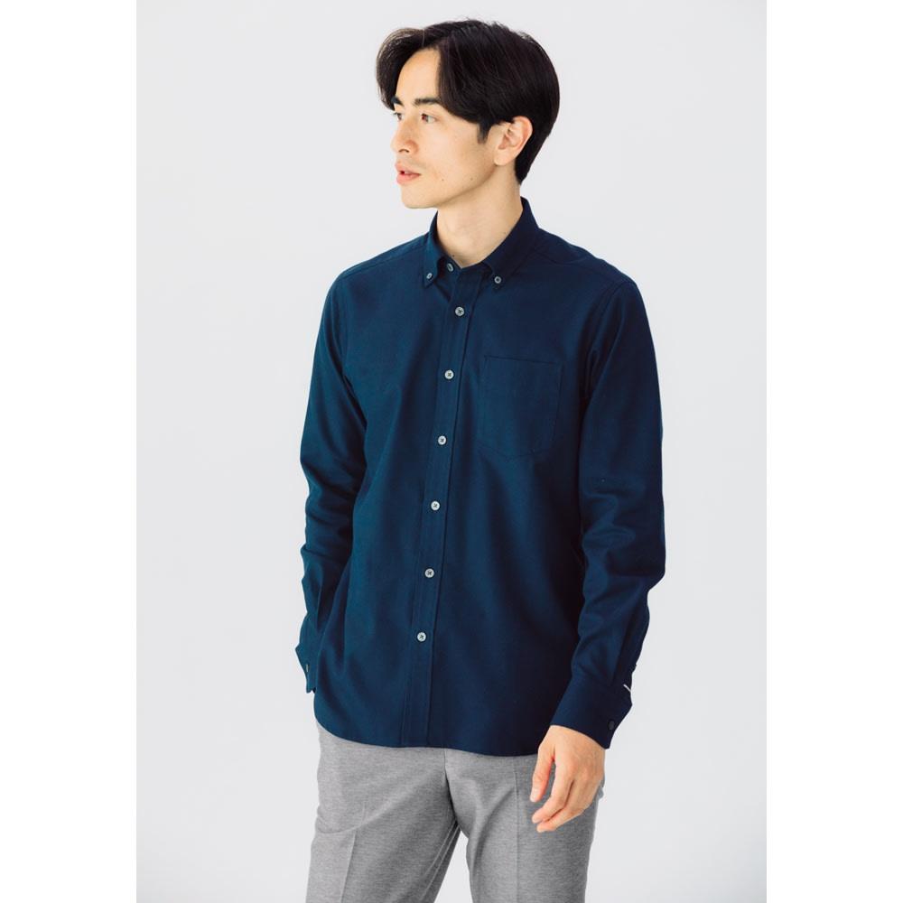 SCENE(R)/シーン 7DAYSジャパンメイドシャツシリーズ ツイル起毛ネイビー 着用例