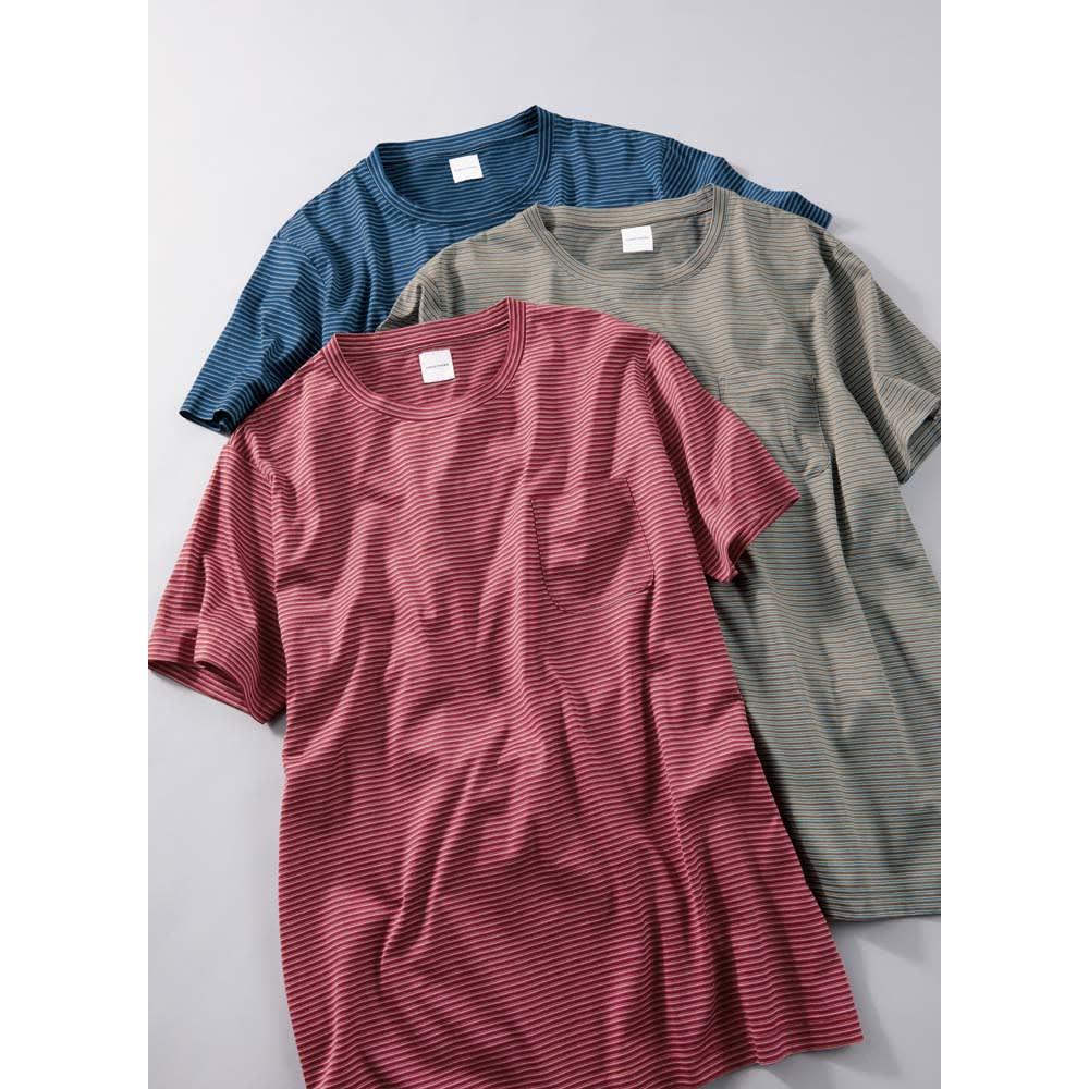 「Besani」 超長綿ダブルシルケットTシャツ 上から(ア)ネイビー (イ)ベージュ (ウ)レッド