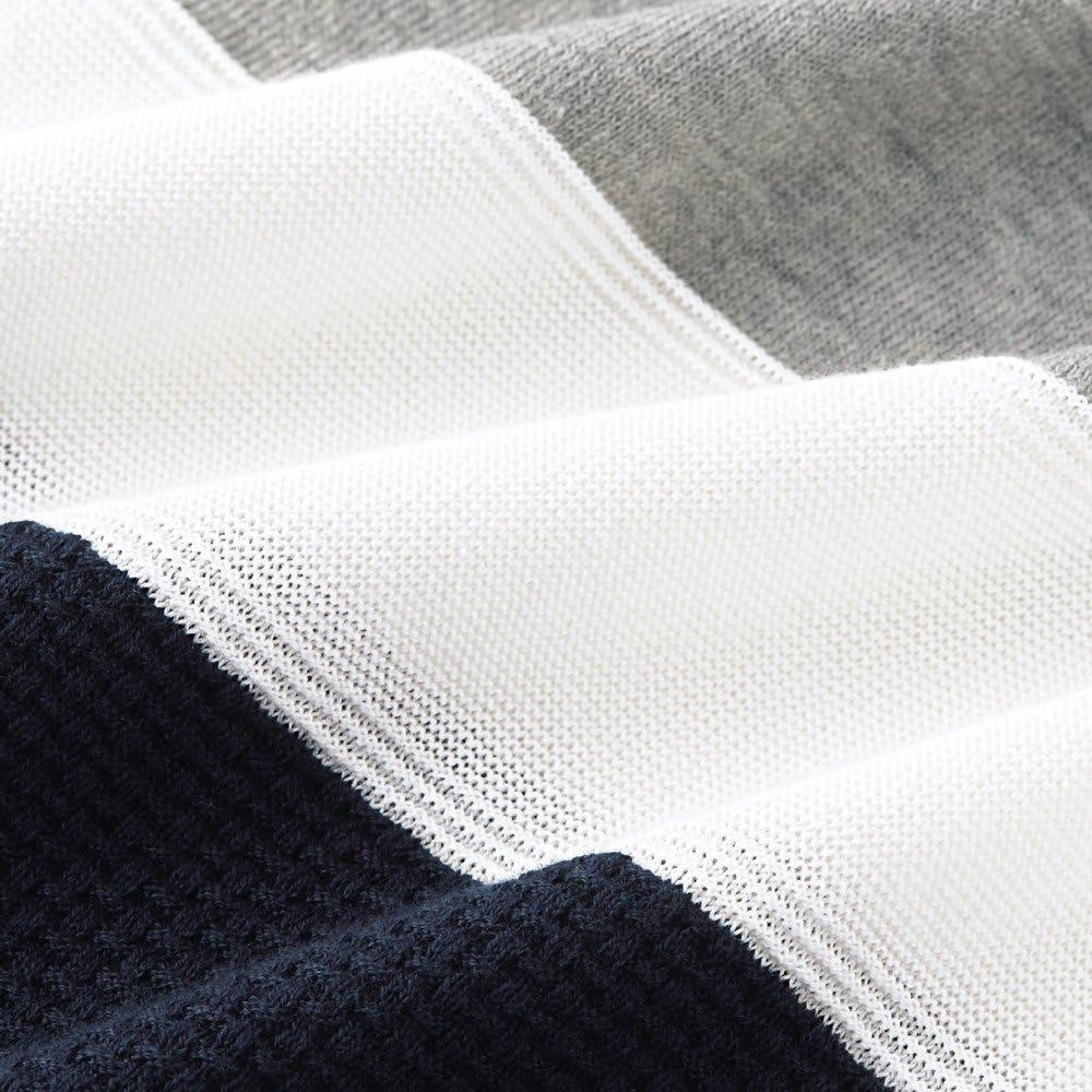 パネルボーダー切替 ニットTシャツ スペイン産ピマ綿は柔らかく光沢感のある繊維質が特徴。表面の美しさに定評があります。