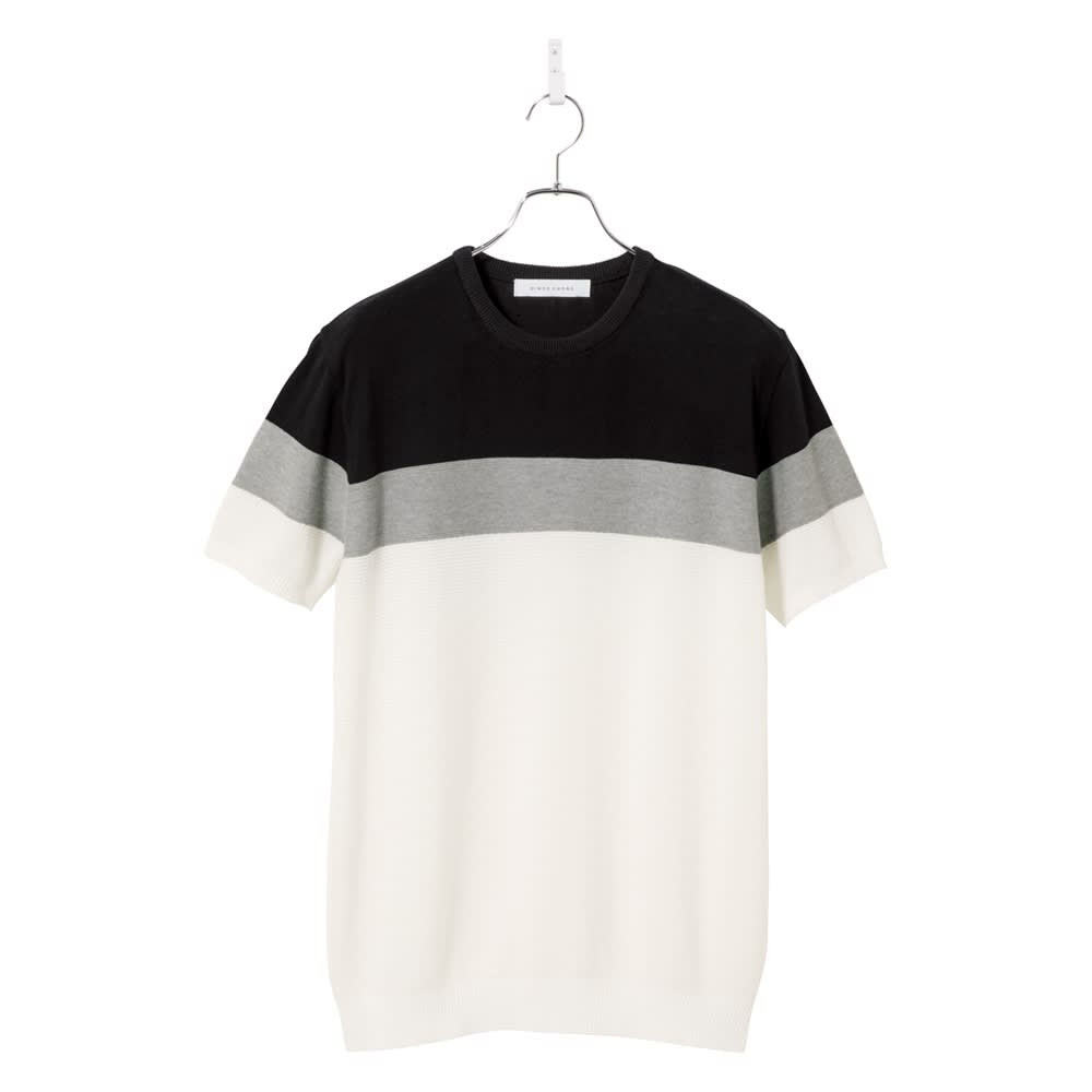 パネルボーダー切替 ニットTシャツ (ア)ブラック