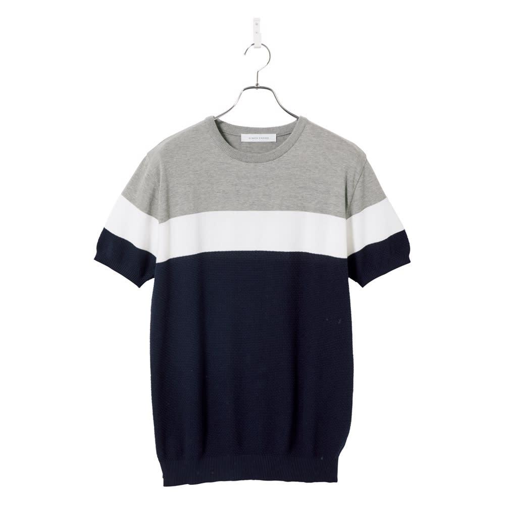 パネルボーダー切替 ニットTシャツ (イ)ネイビー