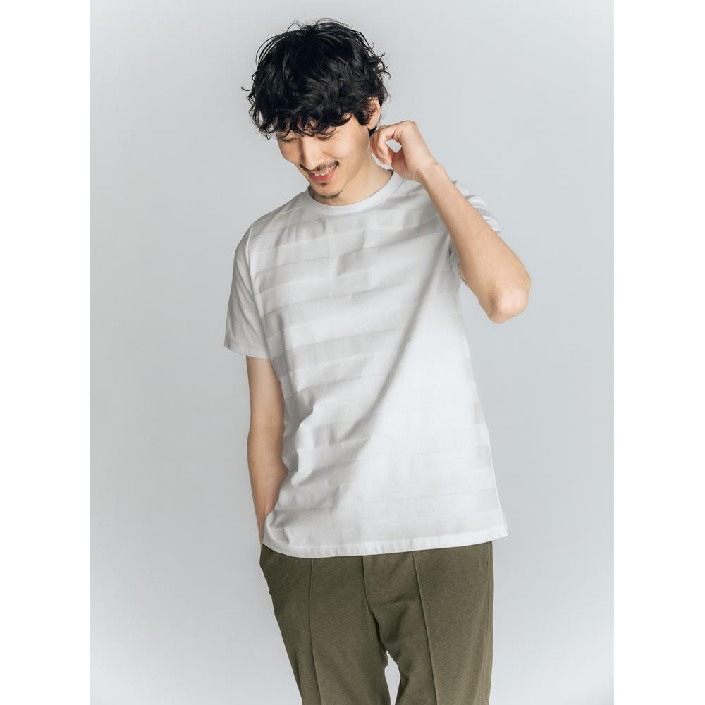 リンクス編みTシャツ (エ)ホワイトボーダー 着用例