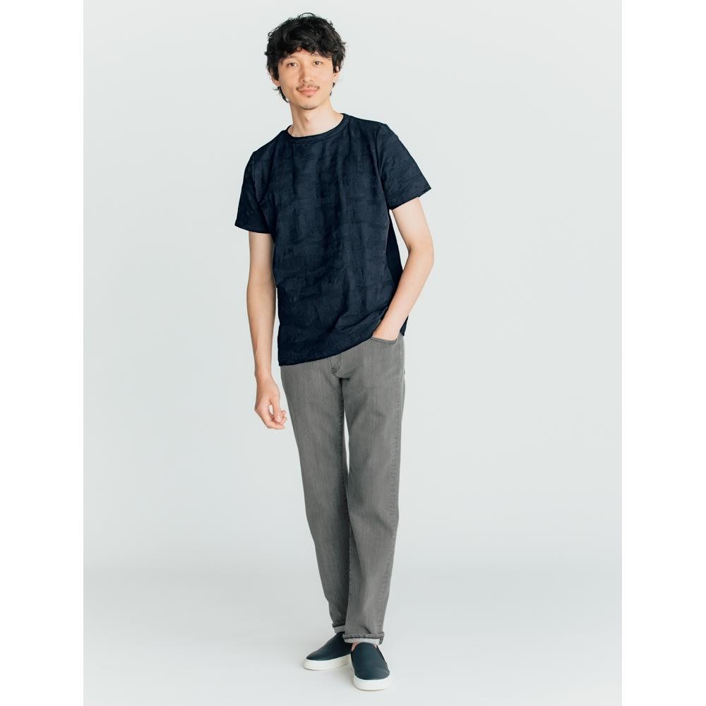 リンクス編みTシャツ (ア)カモフラネイビー 着用例