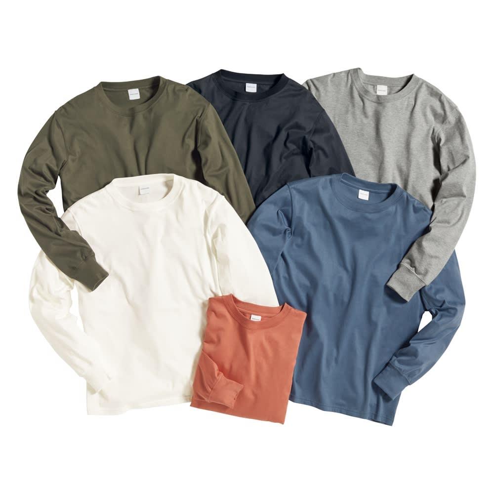 袖リブ腕まくりTシャツ 左上から時計回りに(ア)カーキ (イ)ダークグレー (ウ)ライトグレー (カ)ブルー (オ)グレイッシュピンク (エ)ホワイト