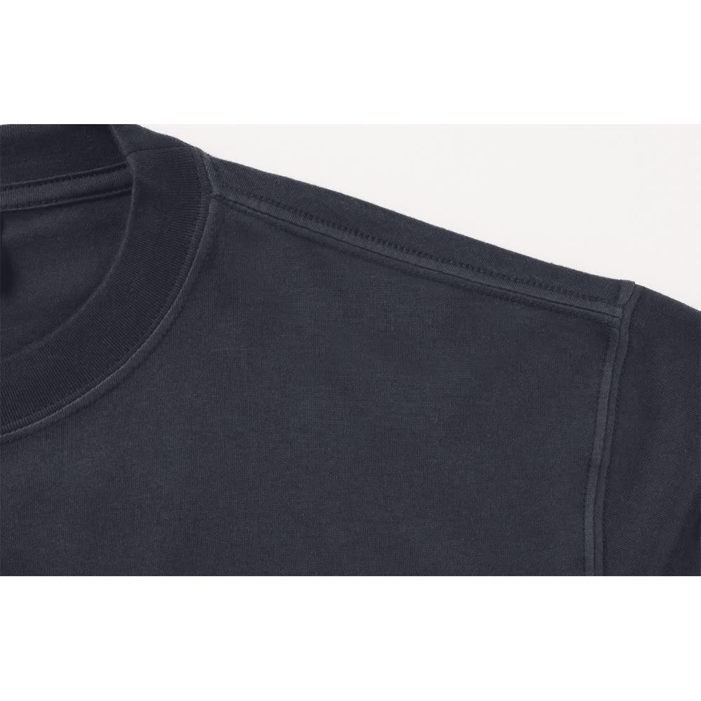 袖リブ腕まくりTシャツ Point! しっかりとした日本製 肩周りの強度を上げるタコバインダー仕様など、洗ってもほつれにくいタフな作りです。