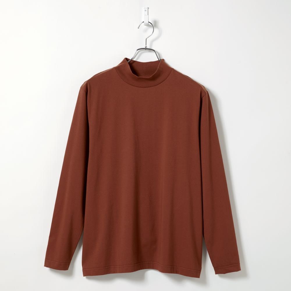 「i cotoni di ALBINI」 超長綿ハイネックTシャツ (ウ)テラコッタ