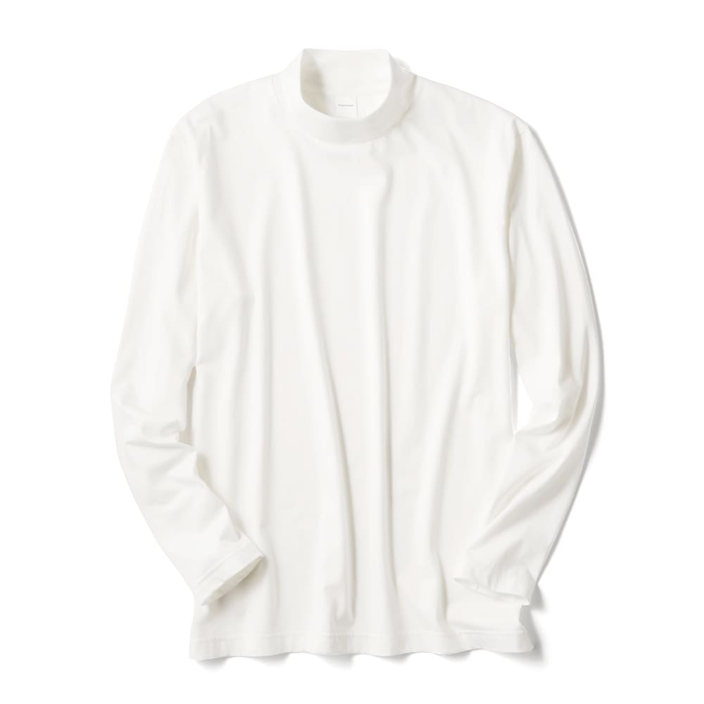 「i cotoni di ALBINI」 超長綿ハイネックTシャツ (イ)ホワイト