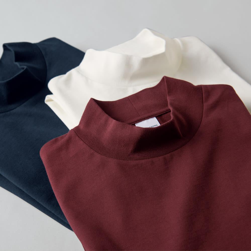 「i cotoni di ALBINI」 超長綿ハイネックTシャツ 上から(ア)ネイビー (イ)ホワイト (オ)ワイン