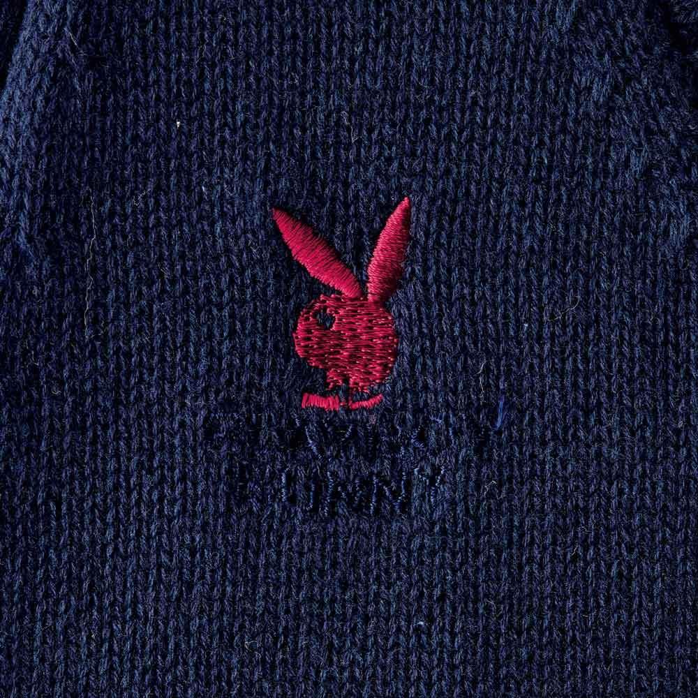 PLAY BOY bunny/プレイボーイバニー 綿100% 前開き ニットベスト (ウ)ネイビー ロゴ