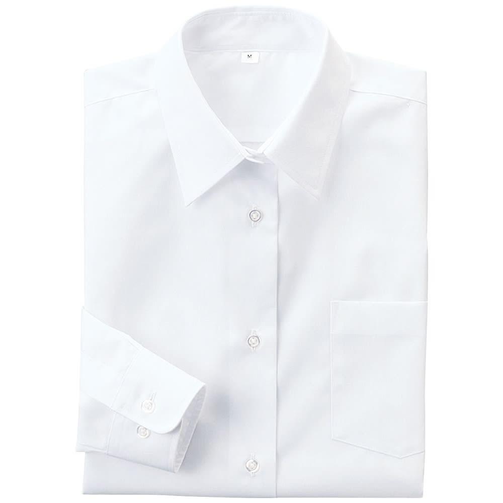 形態安定 長袖シャツ (ア)ホワイト