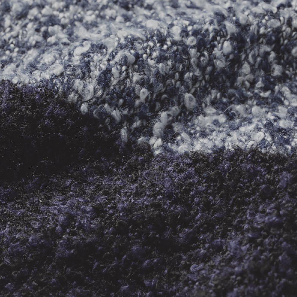 細見えバイカラー モフモフチュニック ネイビー 1本1本にループが巻き付いた糸で編んだニット生地