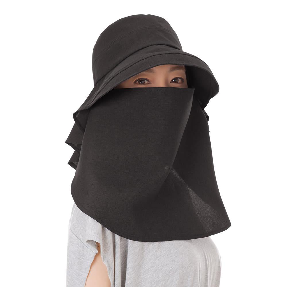 3WAY 遮熱クールUV帽子 フルガードスタイル (ア)ブラック