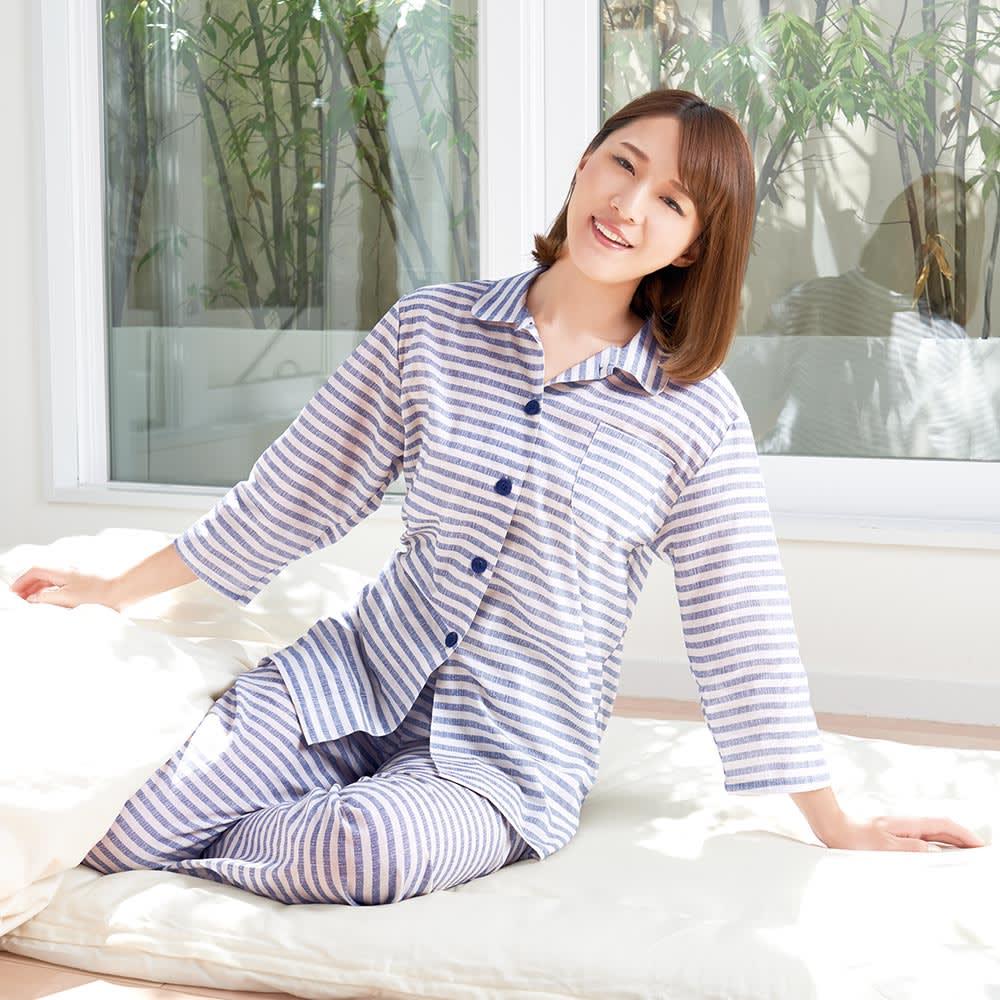 綿100%先染めボーダーパジャマ コーディネート例 (ア)ブルー