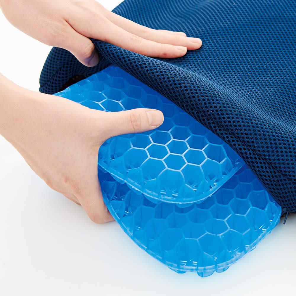 Wゲルクッション ハネナイト ネイビー お得な2個組 取り外しできて洗濯できるカバー付