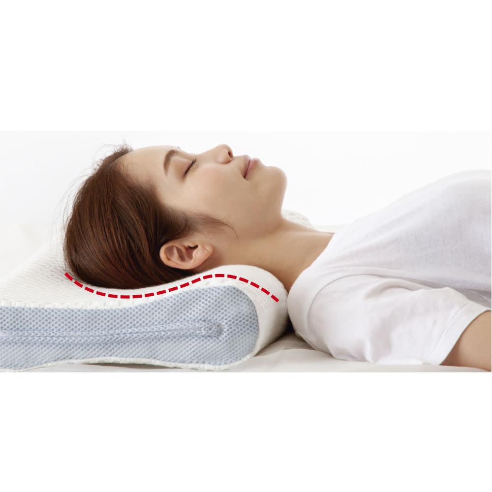 お医者さんの(R)3Dプレミアム枕 枕+カバー1枚付き 頭から首のカーブに沿ってぴったりフィット。