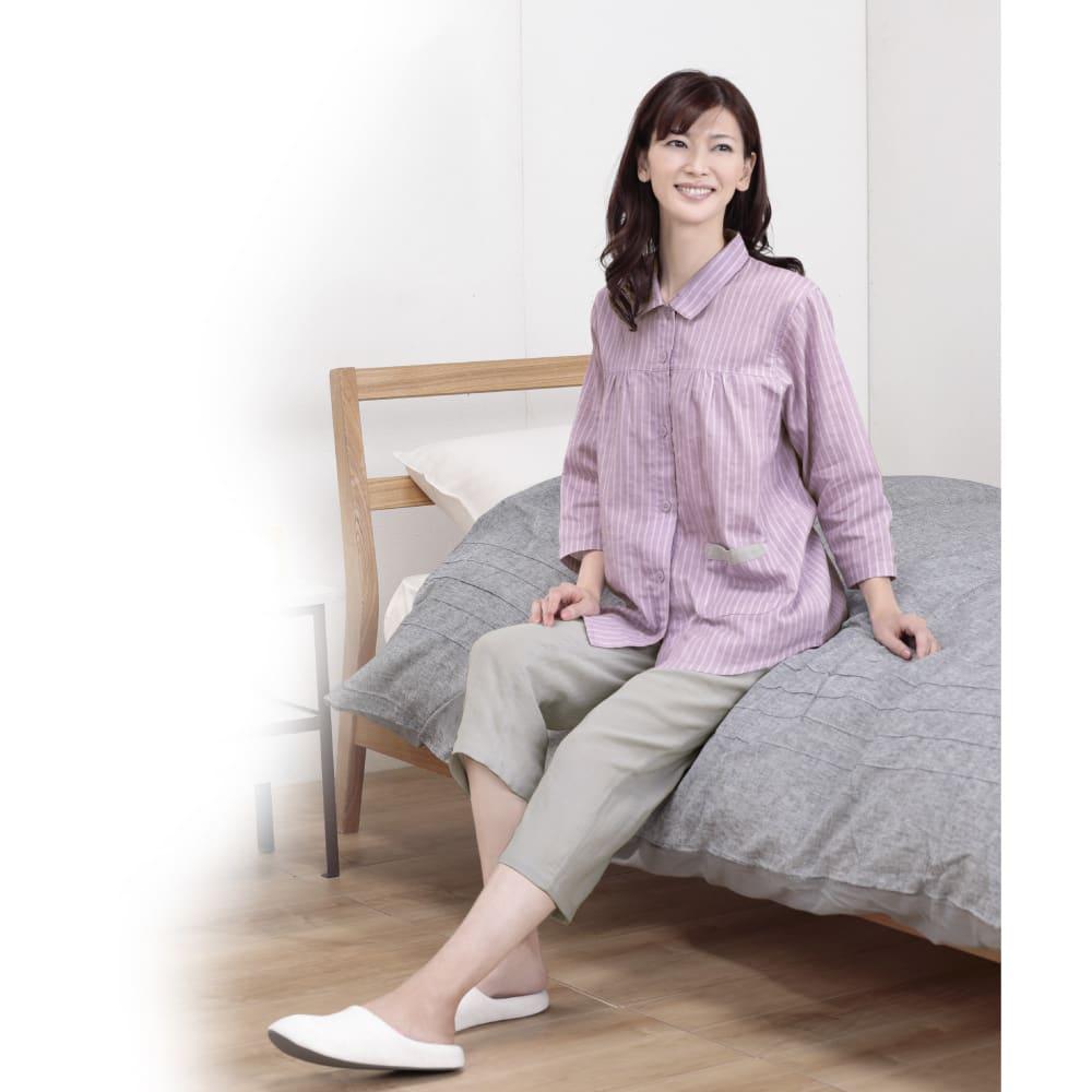 綿100% 二重ガーゼルームウェア (イ)ラベンダー 部屋着としてもパジャマとしても大活躍♪