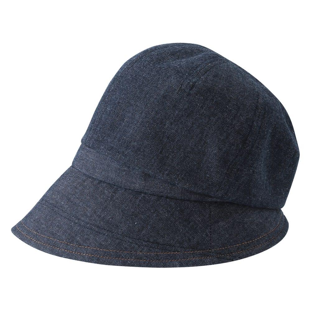 国産 岡山「児島デニム」のすっぴん小顔クロッシェ帽子 (イ)ブラック