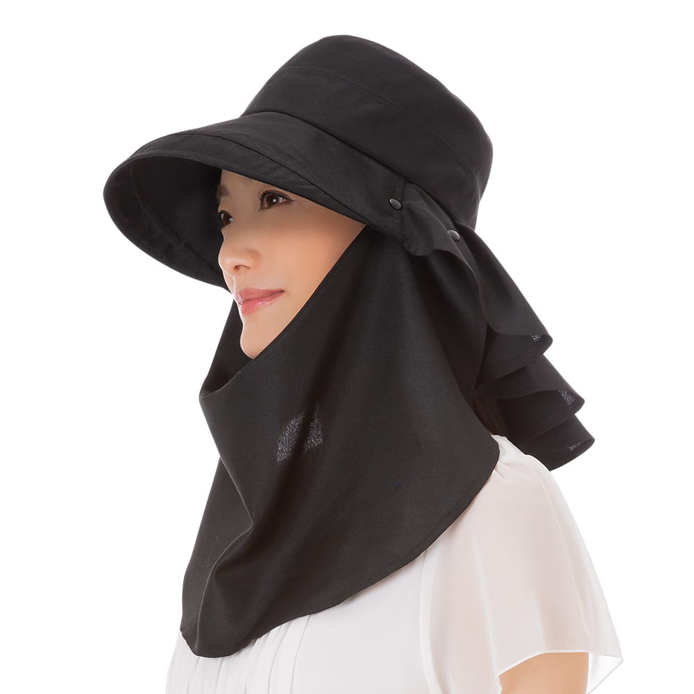 3WAY 遮熱クールUV帽子 ネックガードスタイル (ア)ブラック