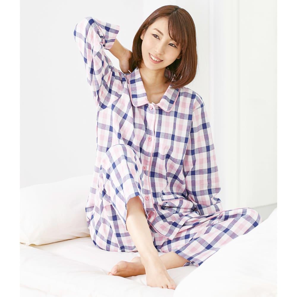 綿100%先染めパジャマ (ア)ピンク系