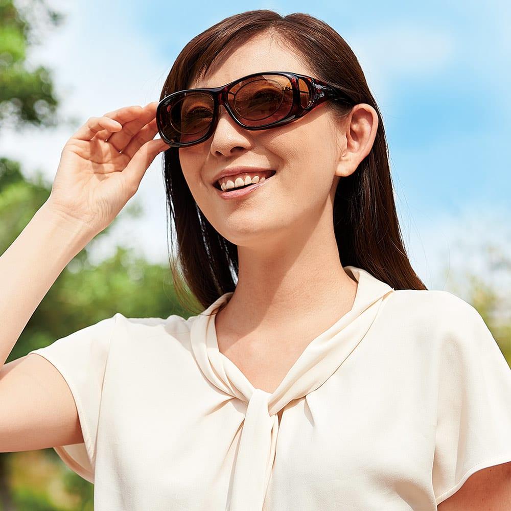 UV偏光オーバーグラスライト レディース ネイビー サングラス・眼鏡