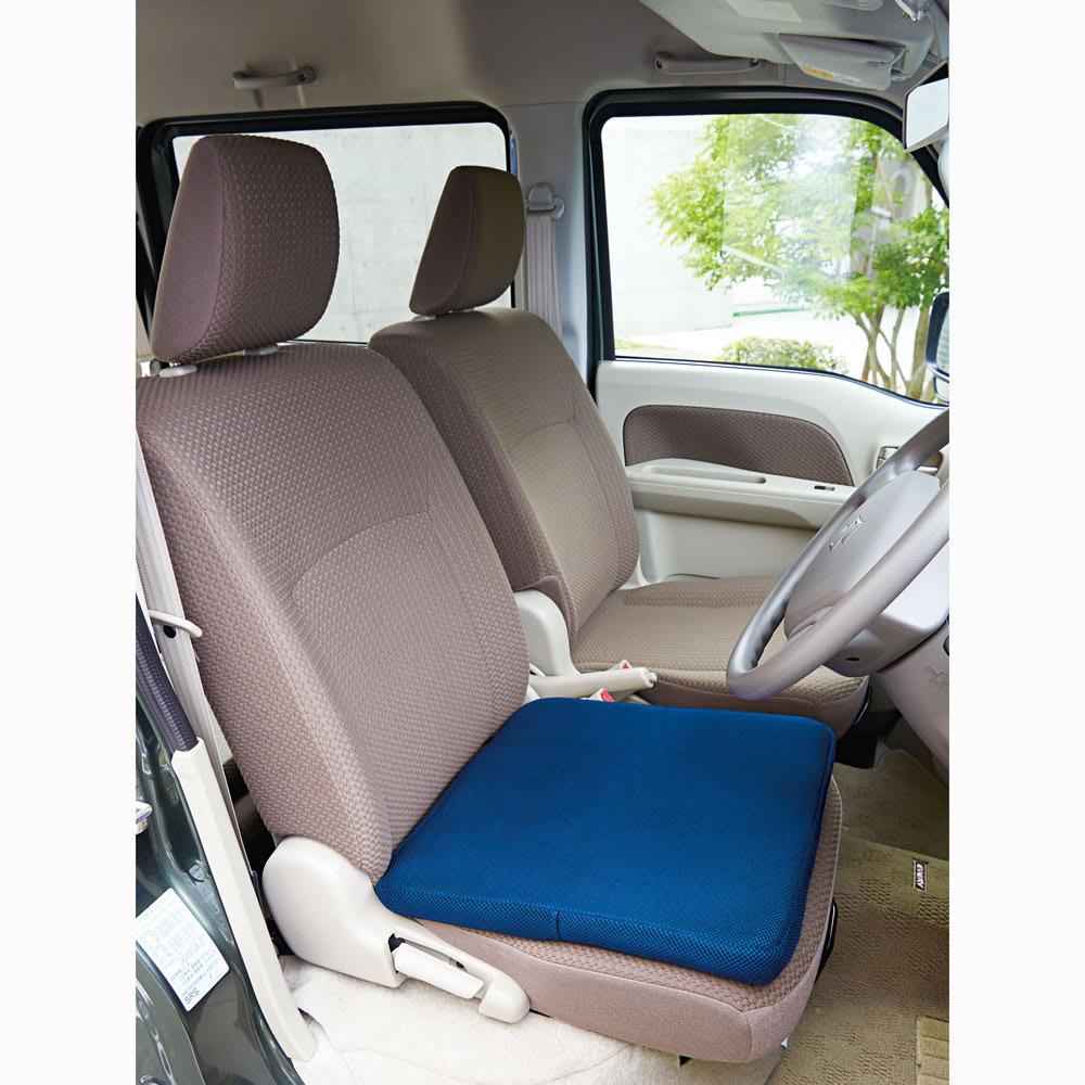 Wゲルクッションハネナイト(R)キング ネイビー 車のシートにぴったりのサイズ