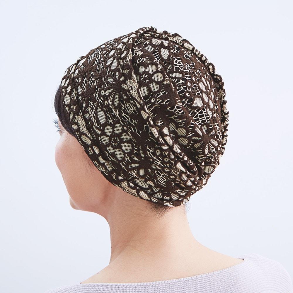 ボリュームレースヘアキャップ すべりどめ付 (2色組) ベージュ&ブラウン コーディネート例