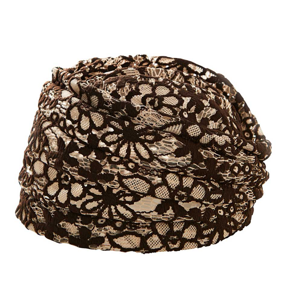 ボリュームレースヘアキャップ すべりどめ付 (2色組) ベージュ&ブラウン