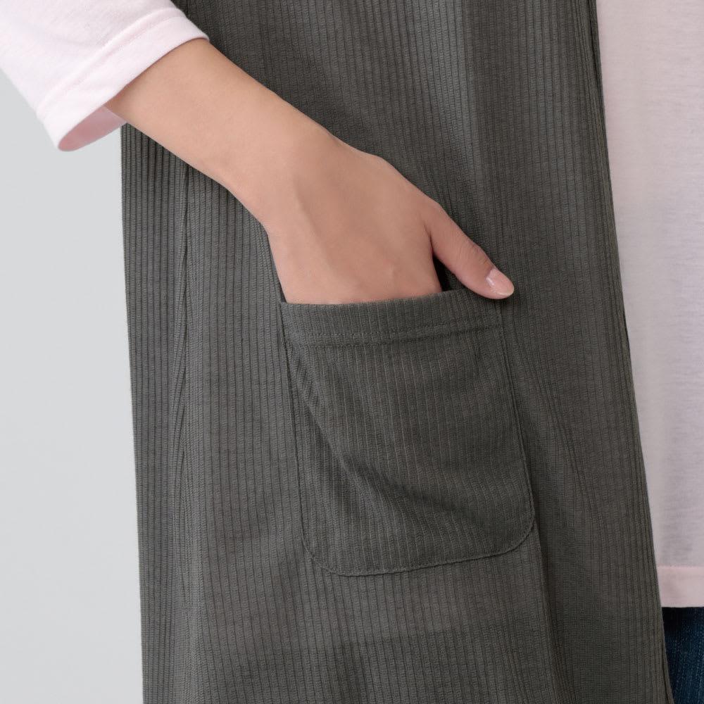 風にゆらぐロングフレアベスト 2色組 左右にポケット付き