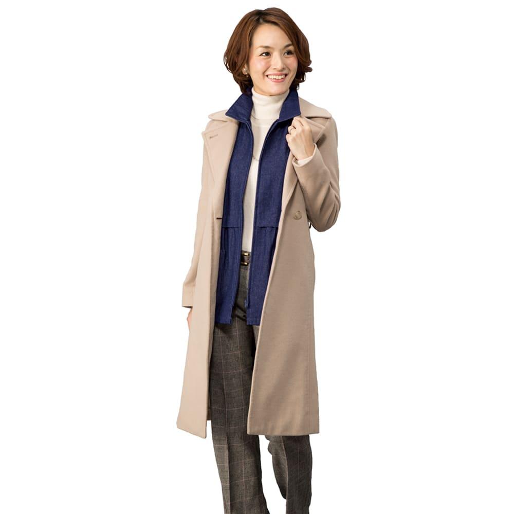 岡山デニムベスト コーディネート例 コートと重ね着でライナー風の着用も! オールシーズン着られる!