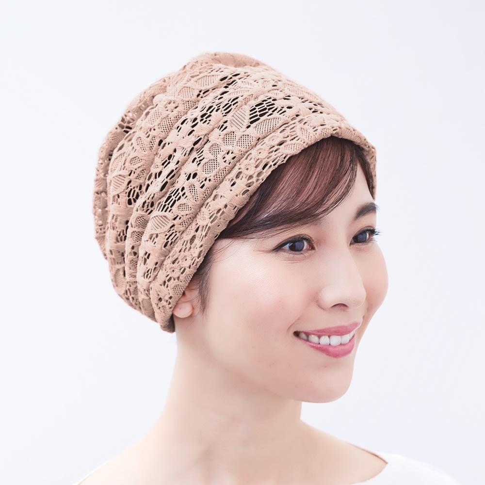 ボリュームレースヘアキャップ すべりどめ付 (2色組) ピンク コーディネート例
