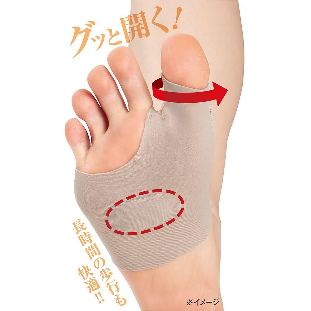 お医者さんの(R)外反母趾サポーター ピタ肌 2枚組 履くと自然に親指が開き、つらい外反母趾や足の疲れをサポート。