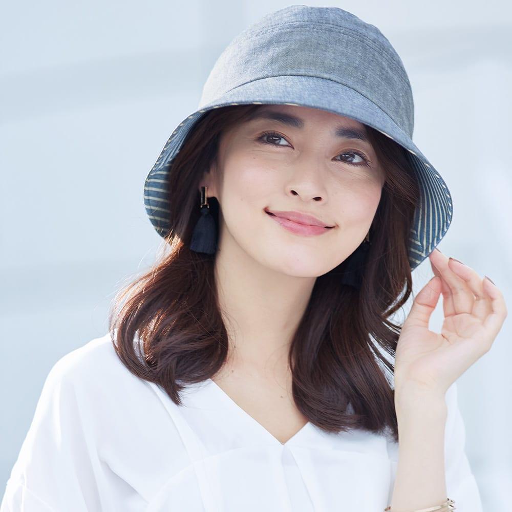 手しごと工房 ダンガリーUV帽子 コーディネート例 (ア)ネイビー