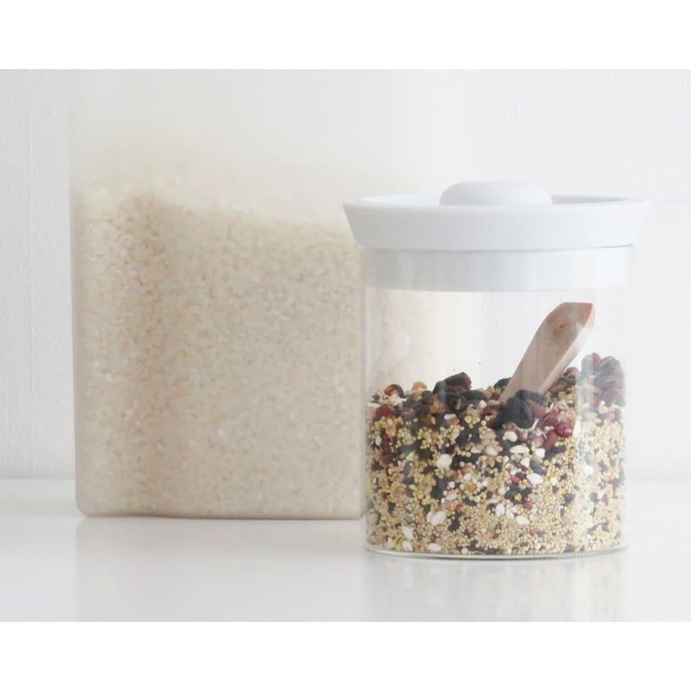 シリコンリッドジャー SILICON LID JAR ガラス L ピンク お米や雑穀などを入れても◎