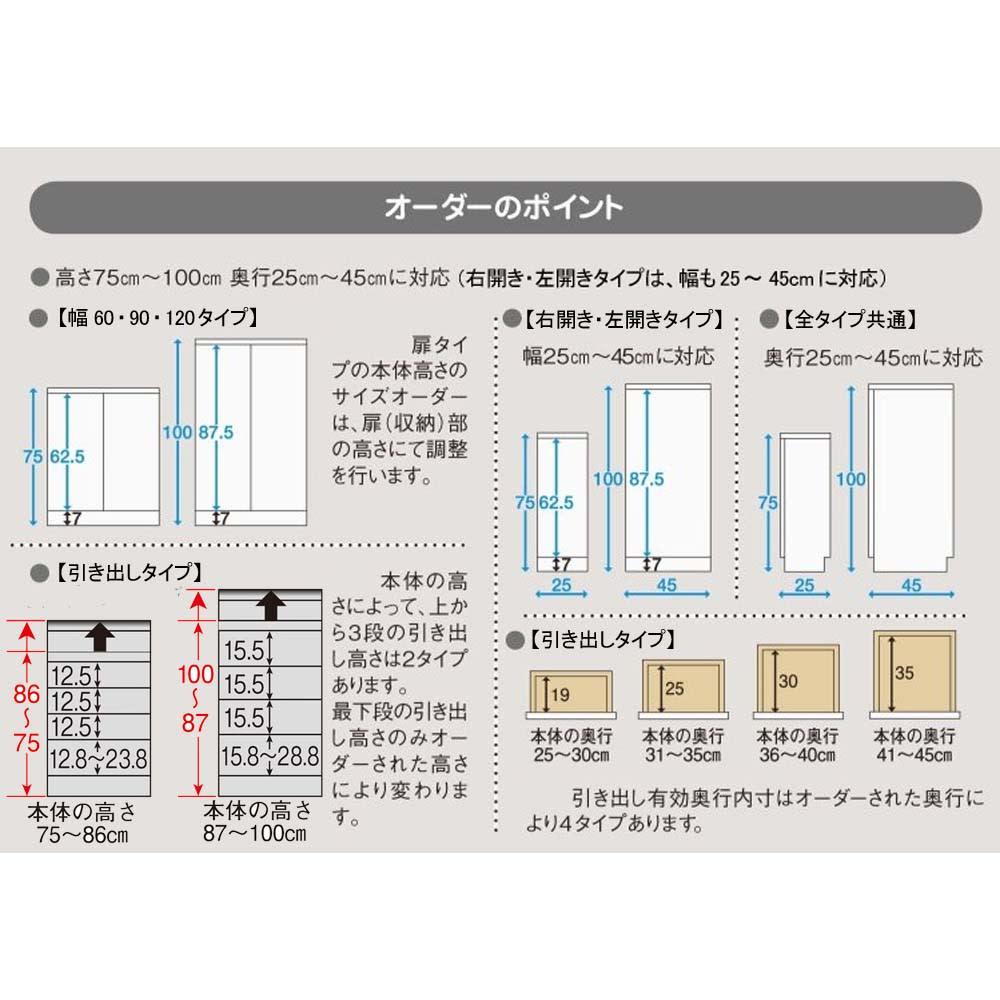 組合せ・高さ奥行のサイズオーダー薄型収納庫 幅120cm 【オーダーポイント】 「高さ」と「奥行」が1cm単位でオーダーできます。