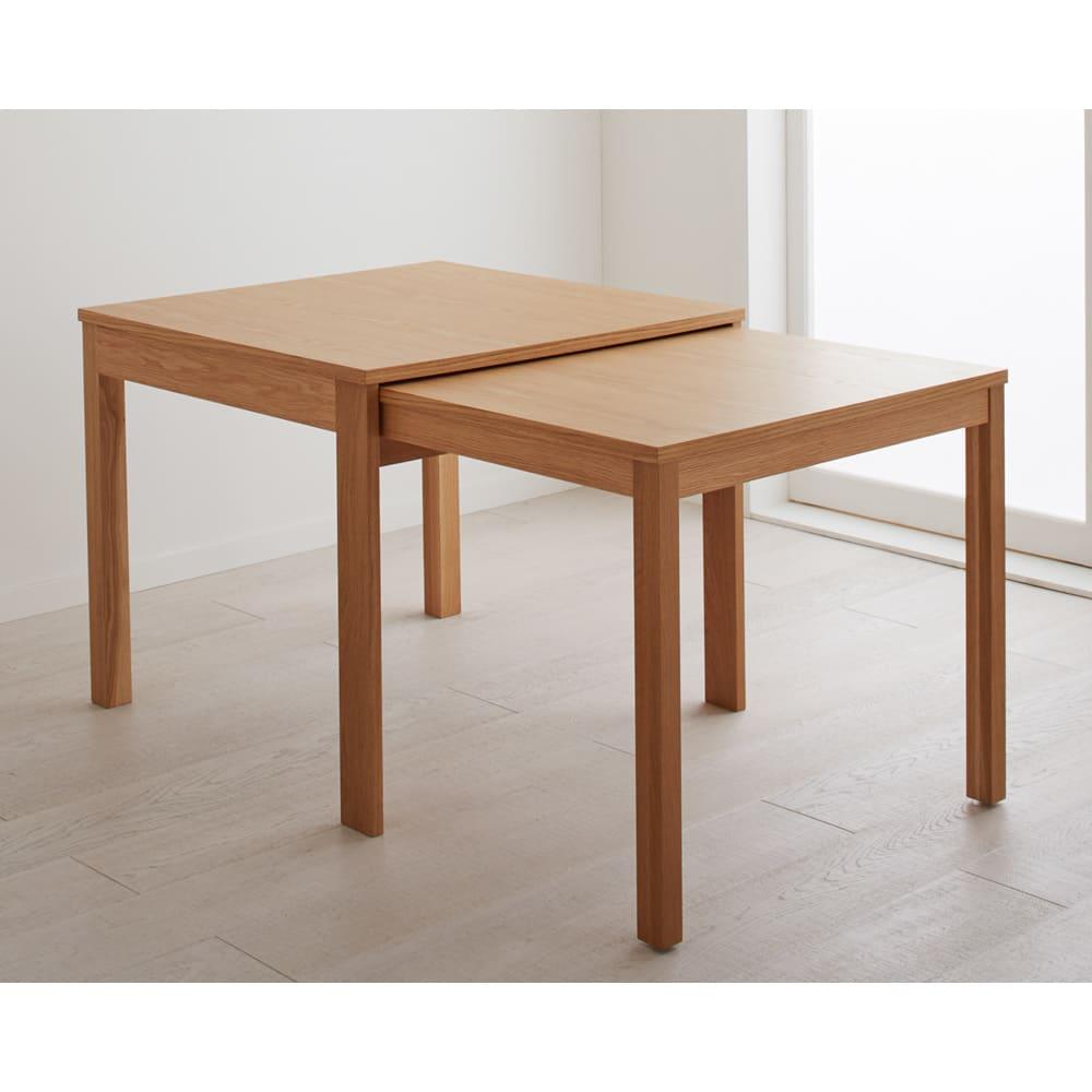 NobuII 伸長式スライディングテーブル ウォルナット材ダイニングテーブル 正方形幅85~143.5cm 伸長時 ※画像は同型オークタイプです。