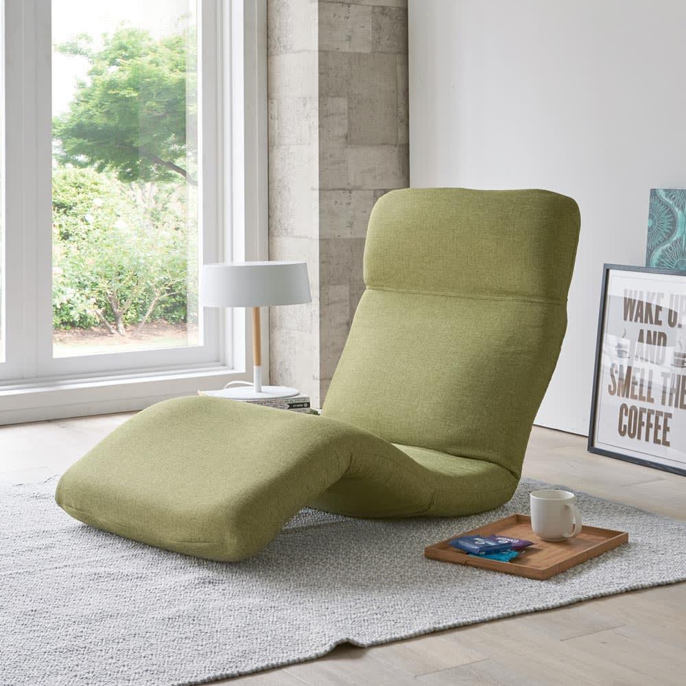 腰に優しいゆらゆら寝椅子 ワイド 幅67cm 使用イメージ(イ)グリーン