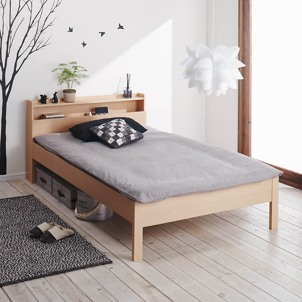 角あたりのない細すのこベッド (両面使えるポケットコイルマットレス付き) 布団使用イメージ