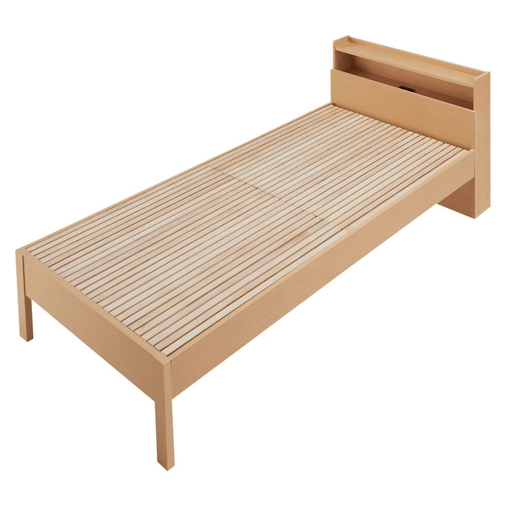 角あたりのない細すのこベッド (両面使えるポケットコイルマットレス付き) (ア)ナチュラル