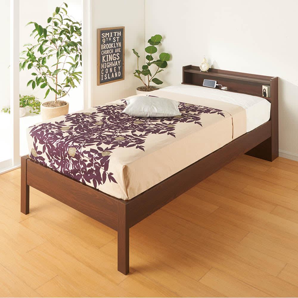 角あたりのない細すのこベッド (両面使えるポケットコイルマットレス付き) マットレス使用イメージ
