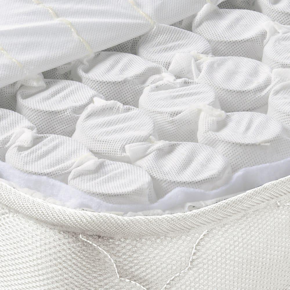 角あたりのない細すのこベッド (両面使えるポケットコイルマットレス付き) 袋詰めされた個々のポケットコイルが独立して動くため、体のラインに沿ってしっかり点で支えます。