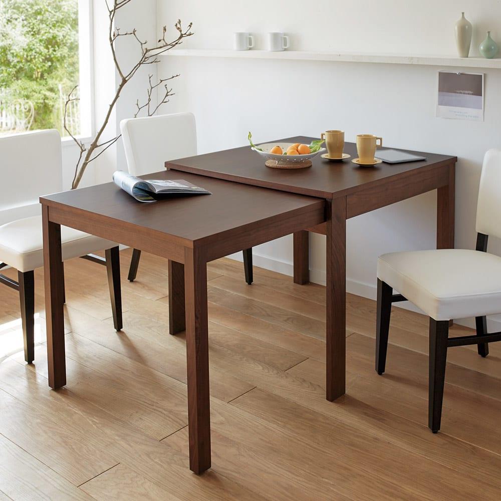NobuII 伸長式スライディングテーブル ウォルナット材ダイニングテーブル 正方形幅85~143.5cm サブテーブルを伸長させて、広さ約1.8倍!