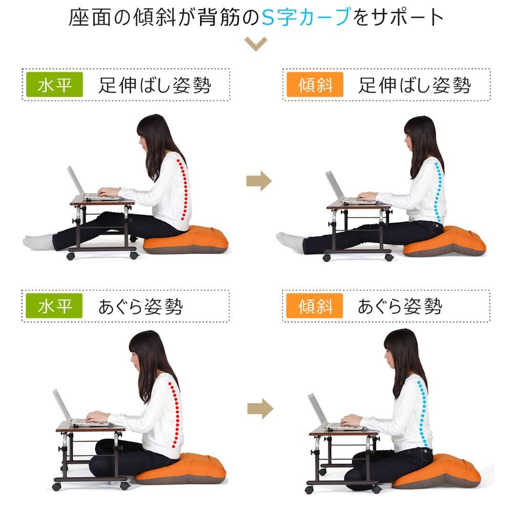 姿勢ケアフレックスクッション パソコン操作時には座面に傾斜を付けた前傾姿勢がオススメ。