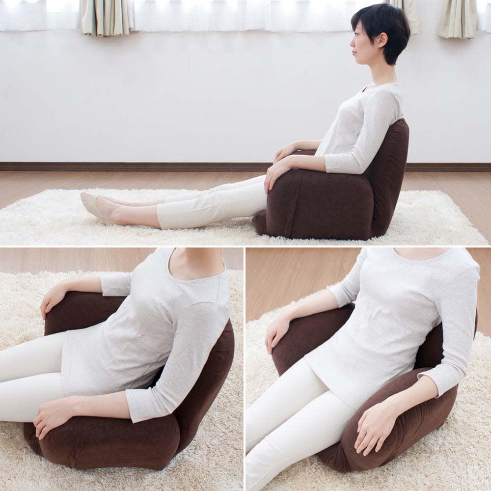 すっぽり収まる肘付きリクライニング座椅子 小ぶりながらも背中を支えるウレタン構造でしっかりと支える安定したすわり心地。