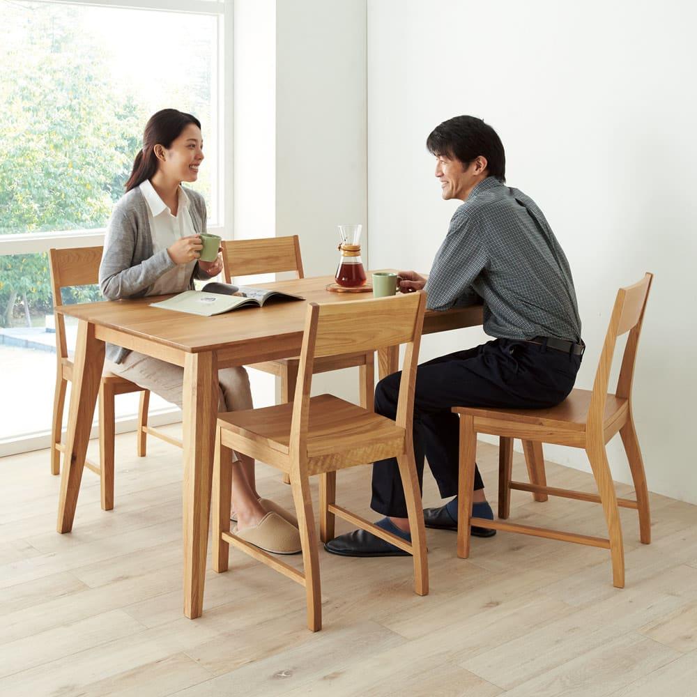 北欧スタイルダイニング テーブル 幅140cm コーディネート例(ア)ナチュラル