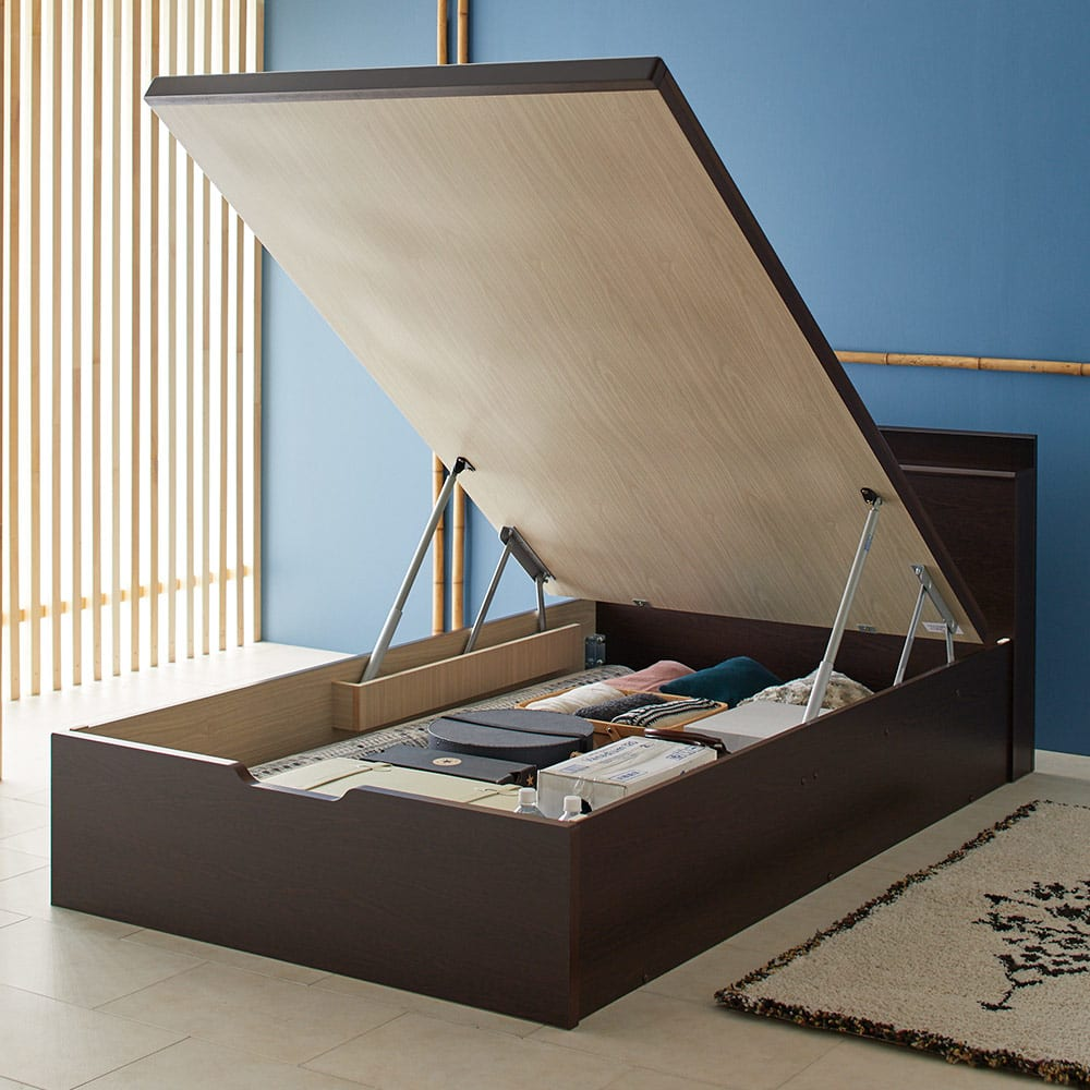 「美草」畳ガス圧収納ベッド 収納棚付きヘッドボードタイプ シングル 床板オープン時