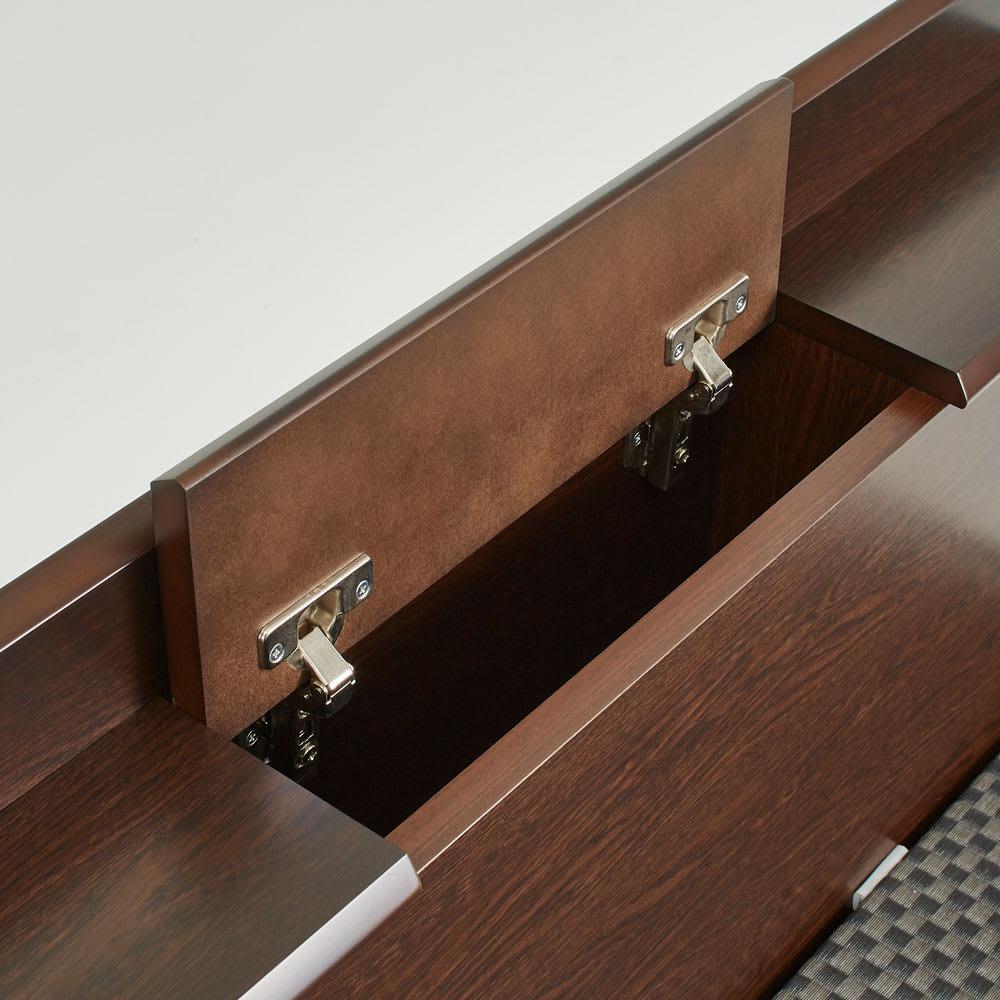 「美草」畳ガス圧収納ベッド 収納棚付きヘッドボードタイプ シングル 収納棚には文庫本や眼鏡等が収納できます