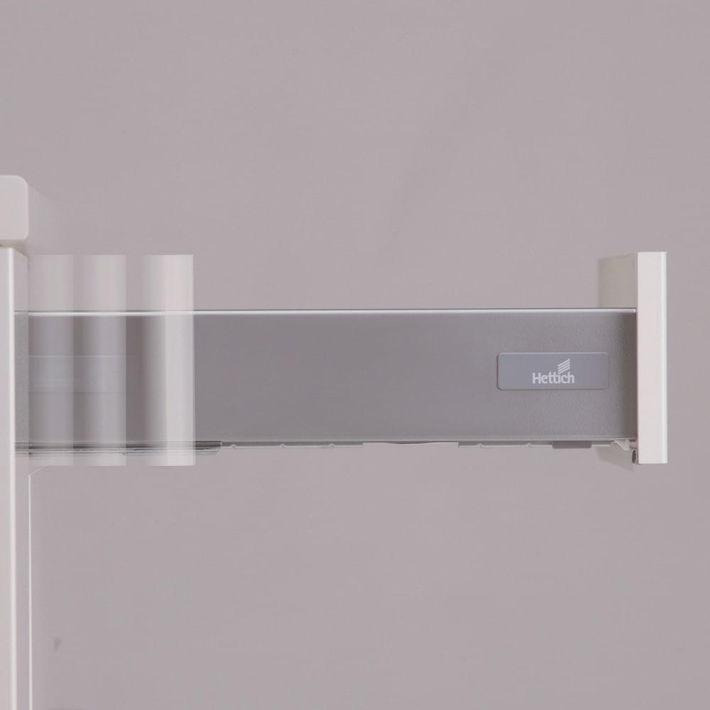お手入れ簡単ナチュラル高機能シリーズ カウンター 幅140cm すべての引き出しにはゆっくり滑らかに開閉するサイレントレールを採用。